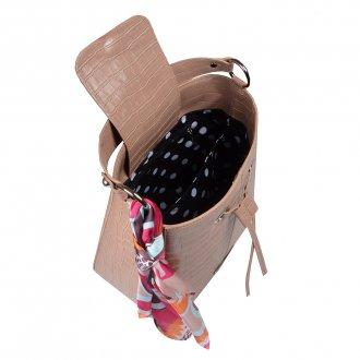 Bolsa Saco Croco Capuccino com Lenço Floral I20 3