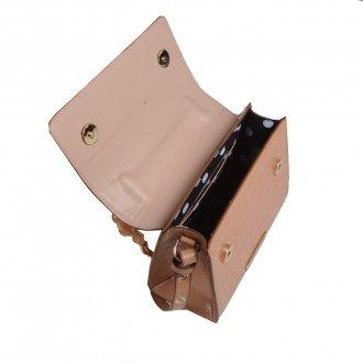 Clutch Estruturada Croco Bege com Bag Charm V20 3