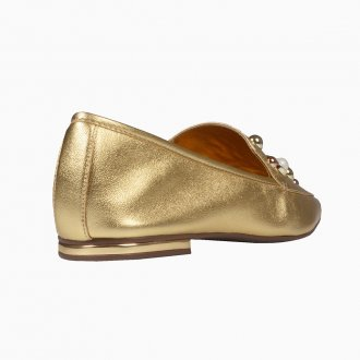 Loafer Dourado Bico Quadrado Com Pérolas I21 5