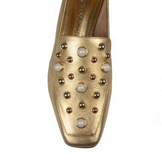 Loafer Dourado Bico Quadrado Com Pérolas I21 3