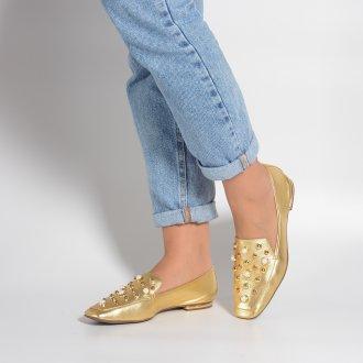 Loafer Dourado Bico Quadrado Com Pérolas I21 2