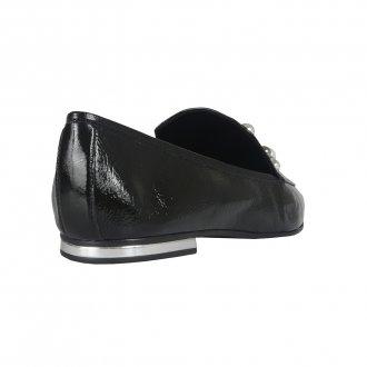 Loafer Preto Bico Quadrado Com Pérolas I21 4