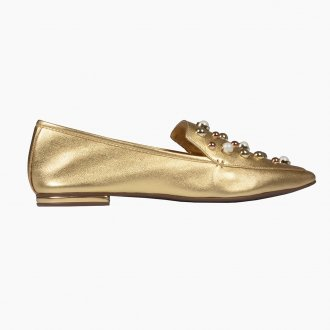 Loafer Dourado Bico Quadrado Com Pérolas I21 4