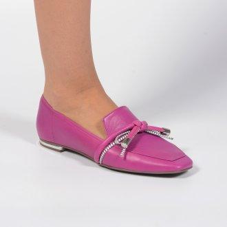 Loafer Couro Rosa Com Laço I21 2