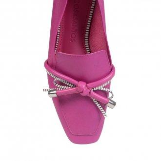 Loafer Couro Rosa Com Laço I21 3