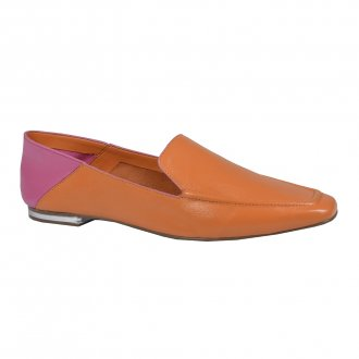 Imagem - Loafer Couro Bicolor Damasco/Rosa Chiclete V22