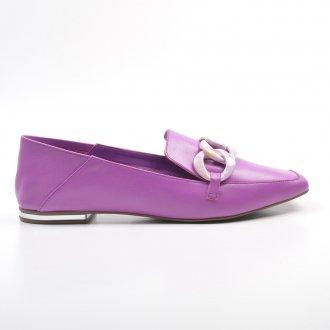 Loafer Couro Orquídea com Detalhe Corrente Colorida V22 4
