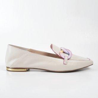 Loafer Couro Off White com Detalhe Corrente Colorida V22 4