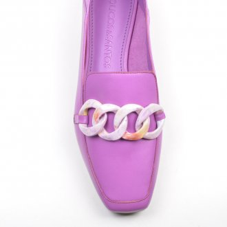 Loafer Couro Orquídea com Detalhe Corrente Colorida V22 2