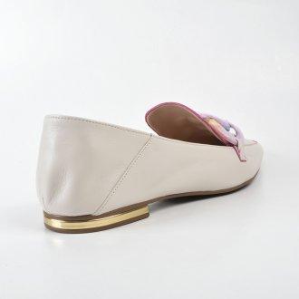 Loafer Couro Off White com Detalhe Corrente Colorida V22 3
