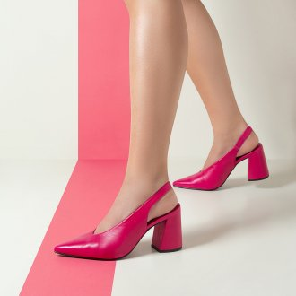 Slingback Couro Pink com Salto Flare I20 5