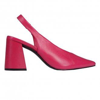 Slingback Couro Pink com Salto Flare I20 2