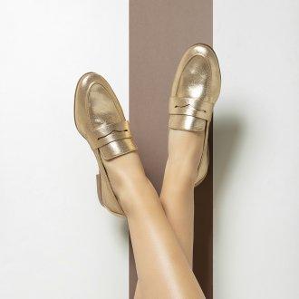 Loafer Couro Metalizado Ouro I20 5