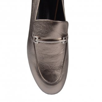 Loafer Couro Metalizado Pewter I20 2