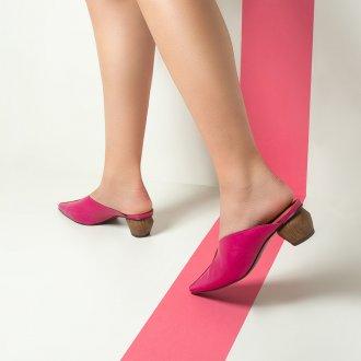 Mule em Couro Pink com Salto Geométrico I20 5