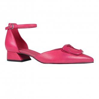 Slingback Bico Fino Couro Pink I20