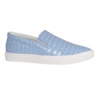 Tênis Slip On Croco Verniz Light Blue V20