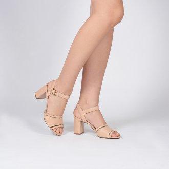 Sandália em Couro Vazado Bege V20 3