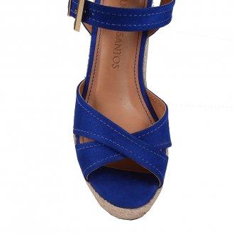 Sandália Plataforma em Couro Camurça Azul V20  2