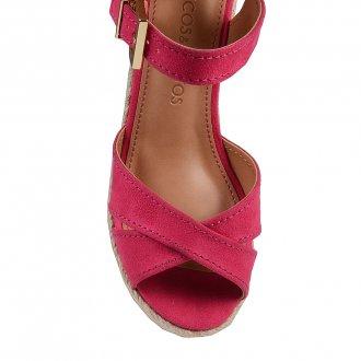 Sandália Plataforma em Couro Camurça Pink V20  2