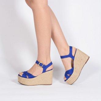 Sandália Plataforma em Couro Camurça Azul V20  3