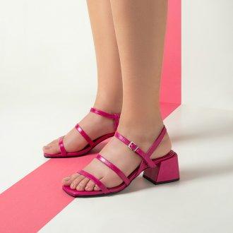Sandália Tiras Couro Pink I20 5