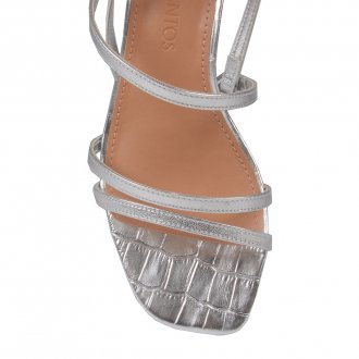 Sandália Tiras Metalizada Prata V20 2