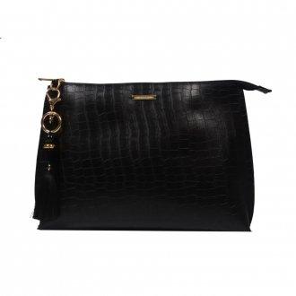Imagem - Clutch de Mão Preta com Bag Charm V21