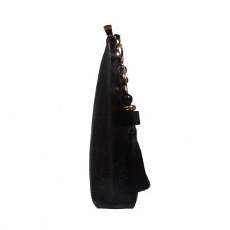 Clutch de Mão Preta com Bag Charm V21 3