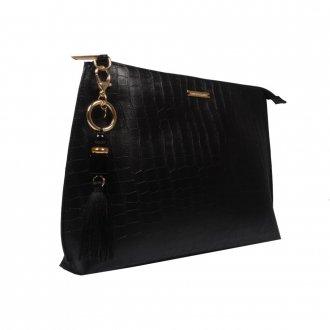 Clutch de Mão Preta com Bag Charm V21 2