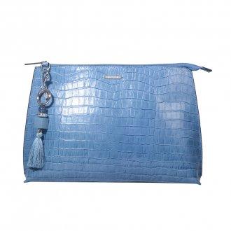 Imagem - Clutch de Mão Azul Jeans com Bag Charm V21