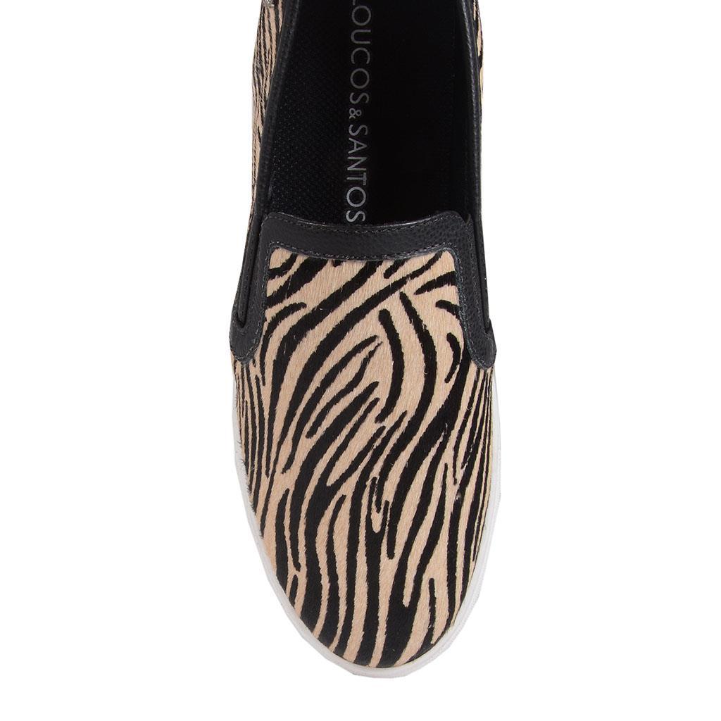 Tênis slip on em pelo zebra I19               4