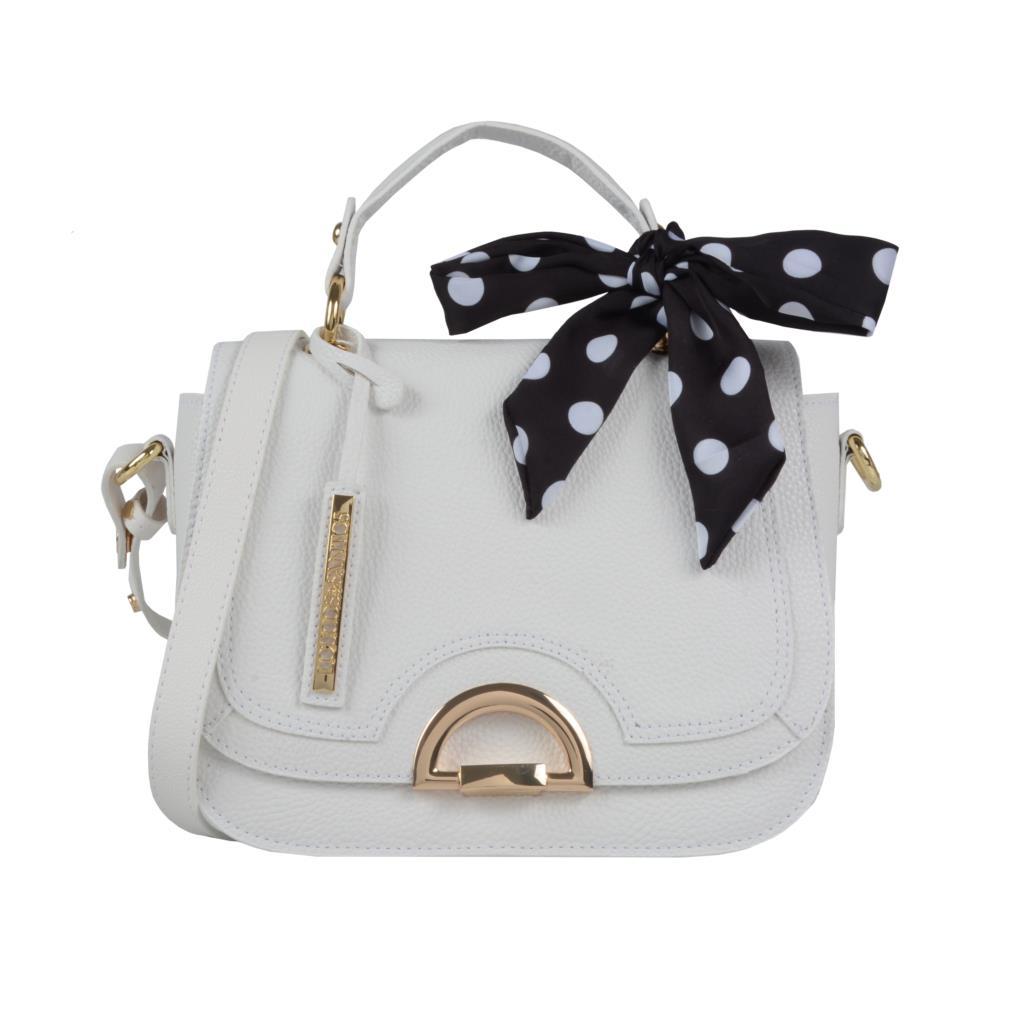 Imagem - Bolsa branca com lenço poá