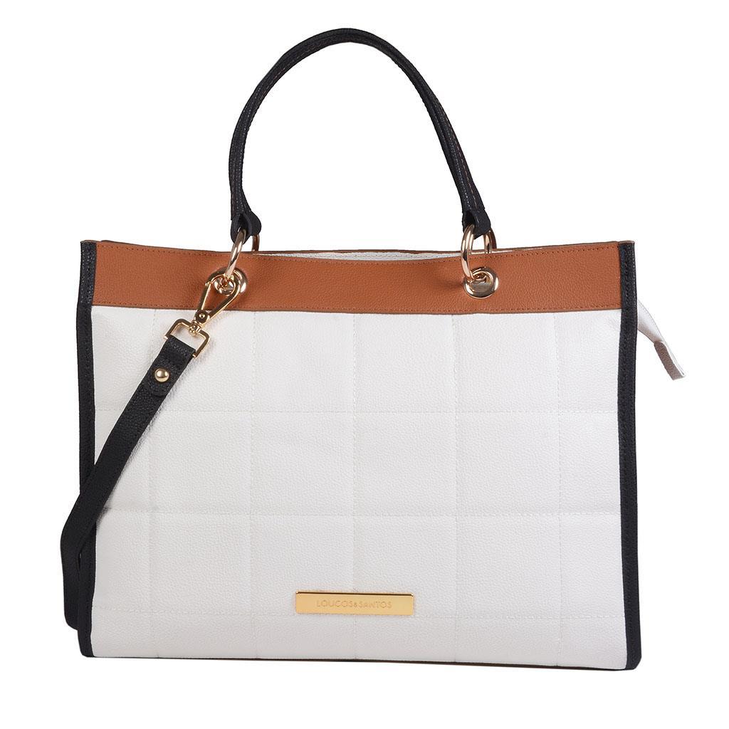 Imagem - Bolsa sacola branca com pesponto I19