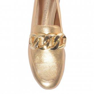 Loafer Couro Metalizado Ouro V21 3