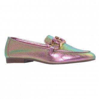 Loafer Couro Holográfico Rosa V21