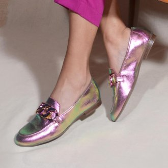 Loafer Couro Holográfico Rosa V21 2