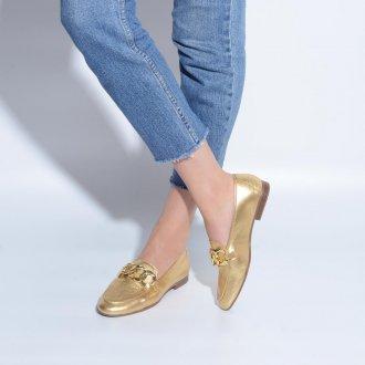 Loafer Couro Metalizado Ouro V21 2