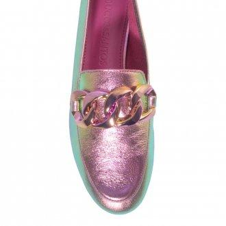 Loafer Couro Holográfico Rosa V21 3
