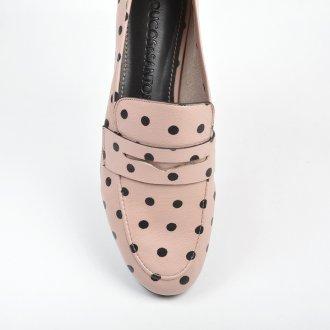 Loafer Couro Poá Rosa/Preto V22 2