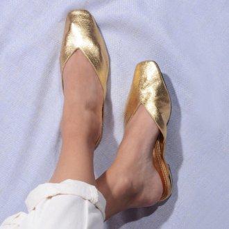 Mule Couro Metalizado Ouro V21 4