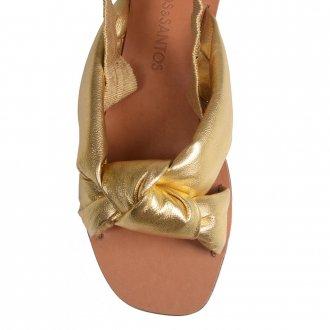 Sandália Rasteira Metalizado Dourado V21 3