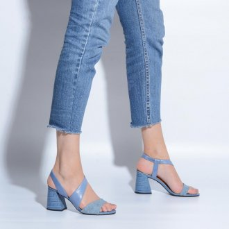 Sandália Couro Azul Jeans V21 2