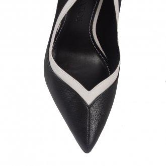 Scarpin Bicolor P&B com Ankle Strap 3