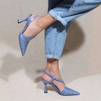Slingback Azul Jeans com Salto Taça V21 2