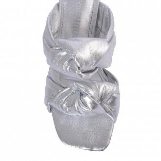 Tamanco Couro Metalizado Prata V21 3