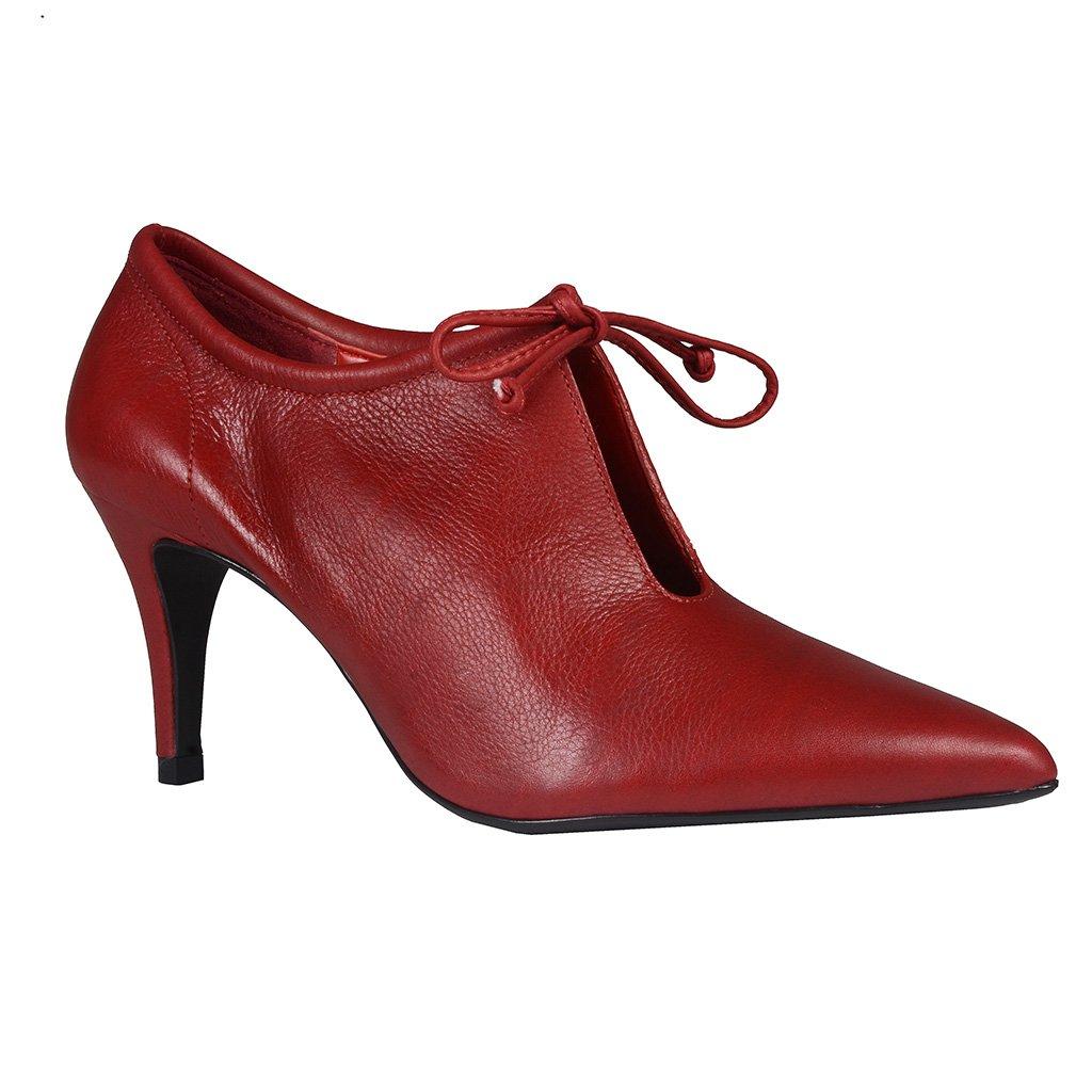 Ankle Boot Couro Vermelho I20