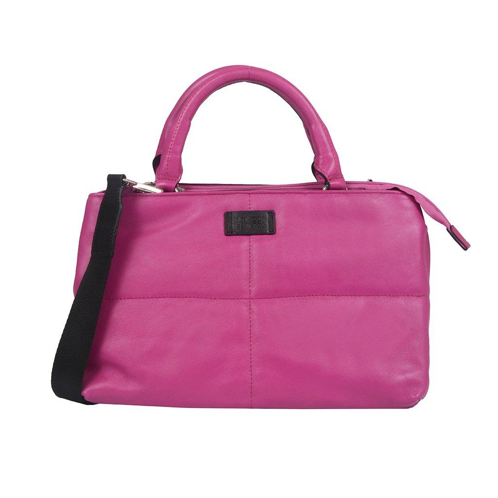 Bolsa Grande Couro Rosa Chiclete V21