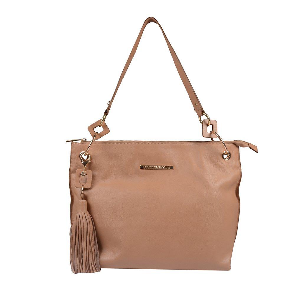 Bolsa de Ombro Couro Bege com Bag Charm I20