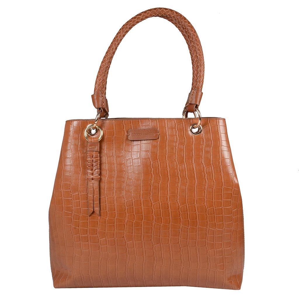 Bolsa Croco Âmbar com Bag Charm V20